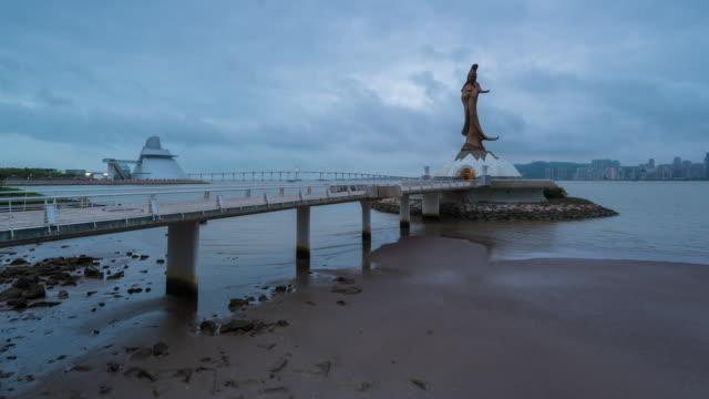 4 K Zeitraffer: Morgen nach Ansicht der Statue von Guanyin in Macau China