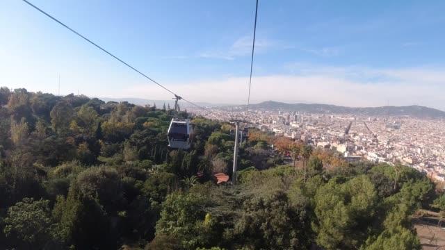 vídeos de stock, filmes e b-roll de time lapse inside of barcelona cable car - cable
