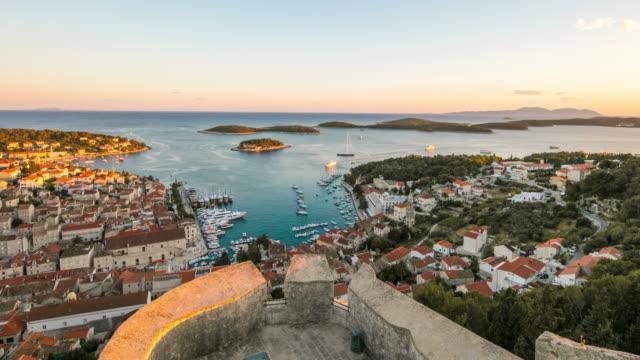 WS Time lapse island of Hvar and harbor, Croatia
