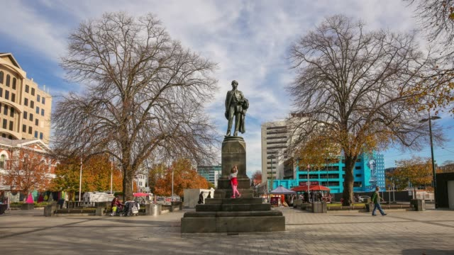 4k time lapse : john robert codley monument at city centre in christchurch city , new zealand. - new zealand stock videos & royalty-free footage