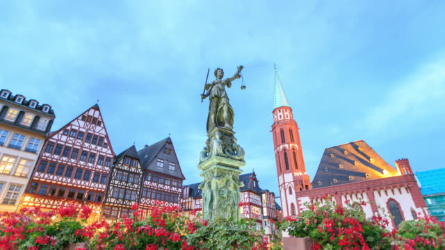 4k time lapse : justice statue - frankfurt main stock videos and b-roll footage