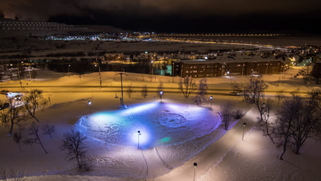 4K Time Lapse : Kiruna City At Night In Winter