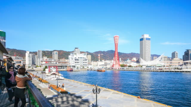 4k time lapse :  kobe port tower - nara prefecture stock videos and b-roll footage