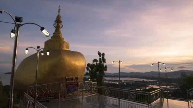 Time lapse Kyaikhtiyo pagoda model in Phuket, Thailand