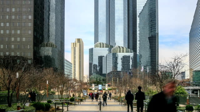 hd time lapse : la defense in paris - downtown stock videos & royalty-free footage