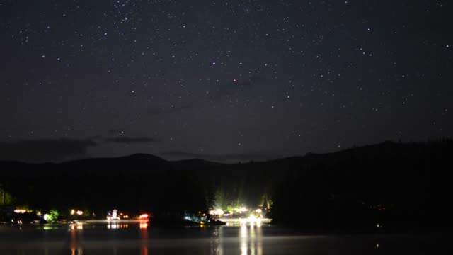time lapse: lake shoreline from starry night to dawn - chaos stock videos & royalty-free footage