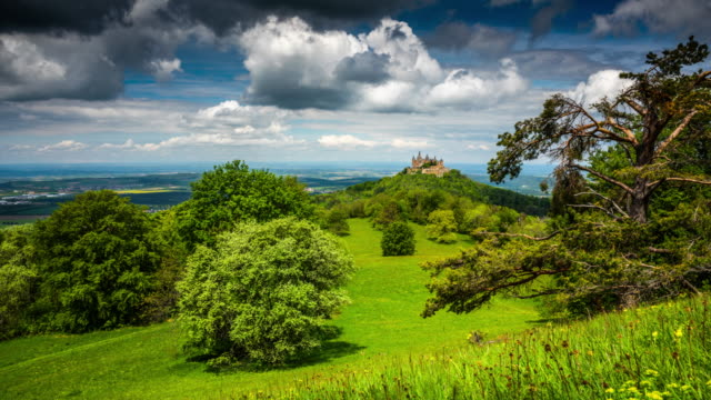 time lapse: landscape with  castle hohenzollern - tracking shot - tracking shot stock videos & royalty-free footage