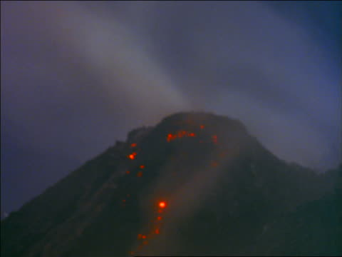 time lapse lava on peak of mount merapi volcano / java, indonesia - indonesia volcano stock videos & royalty-free footage