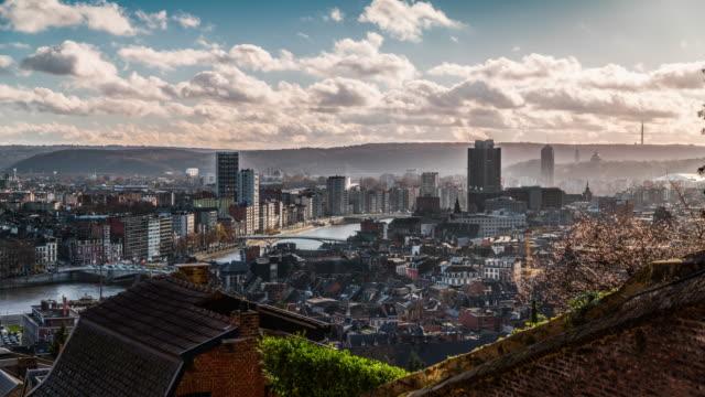 Zeitraffer: Lüttich Belgien Stadt Skyline