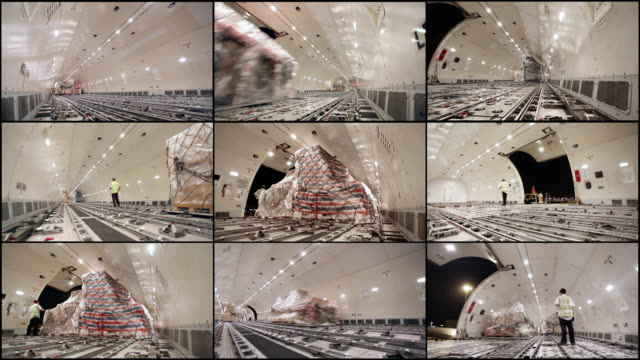 Time Lapse, Loading cargo plane inside airplane cargo hold
