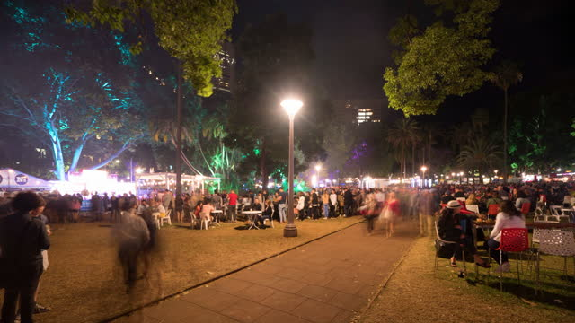 time lapse lockdown: people at illuminated night market in city - sydney, australia - fast motion stock videos & royalty-free footage