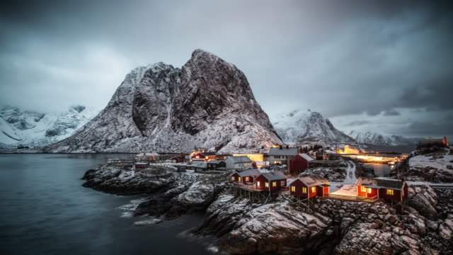 time lapse: lofoten islands arctic landscape - log cabin stock videos & royalty-free footage