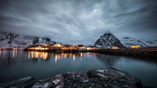 time lapse: lofoten islands scenery - northern europe stock videos & royalty-free footage
