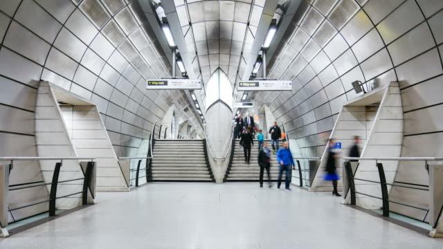 time lapse london train tube underground station, passengers in rush hour, england, uk - london underground stock videos & royalty-free footage