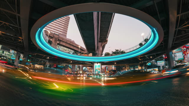 time lapse long exposure of traffic jam and car crowd intersection in rush hour - bangkok stock videos & royalty-free footage