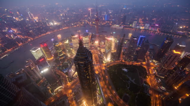 Time lapse looking down to Jin Mao tower in Shanghai China.