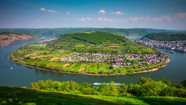 time lapse: loop of the river rhine, near boppard, germany - river rhine stock videos & royalty-free footage
