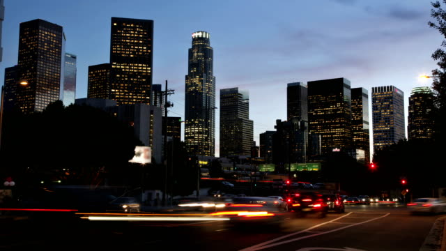 time lapse - los angeles skyline - traffic time lapse stock videos & royalty-free footage
