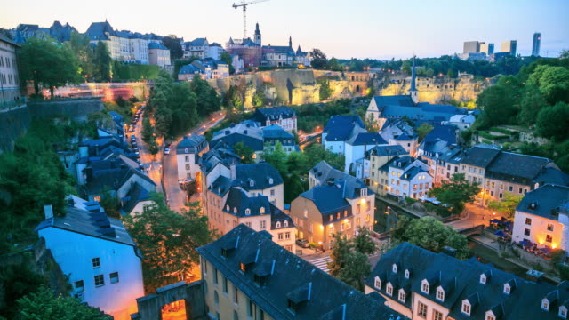 4k time lapse : luxembourg city - luxembourg benelux stock videos & royalty-free footage