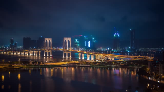 Time Lapse : Macau Bridge Day To Night Time Lapse Cityscape Of Macau City China