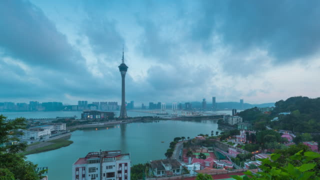 Time Lapse : Macau Tower And Macau Bridge Day To Night Time Lapse Of Macau China