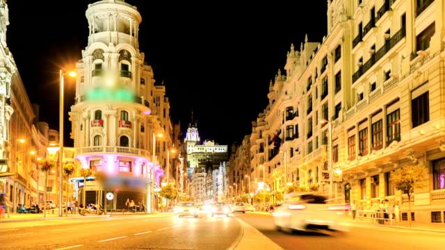 vidéos et rushes de temps qui passe :  principale rue commerçante à madrid.  espagne, europe. - arts culture and entertainment