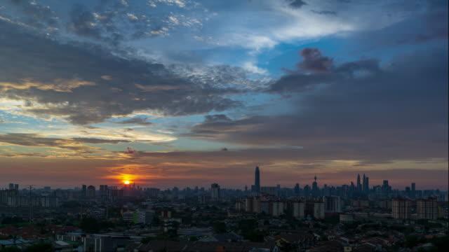 4K Time lapse majestic sunset over downtown Kuala Lumpur, Malaysia.