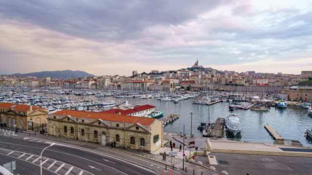 4k time lapse : marseille at night. - notre dame de la garde marseille stock videos and b-roll footage