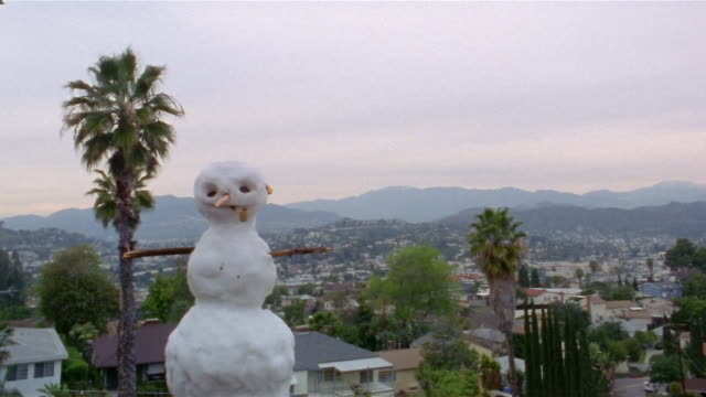 Time lapse medium shot snowman on hill melting / hat and ears falling off / Los Angeles, California