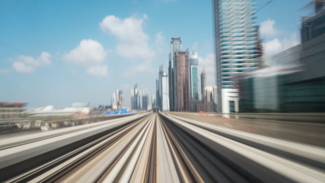 Time Lapse Metro Riding Through Downtown Dubai