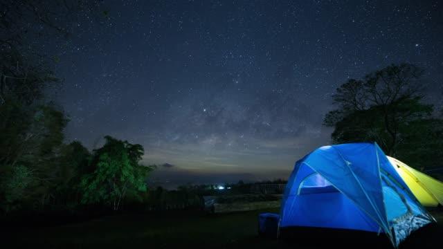 タイムラプスミルキーウェイと夜空。 - 北極星点の映像素材/bロール
