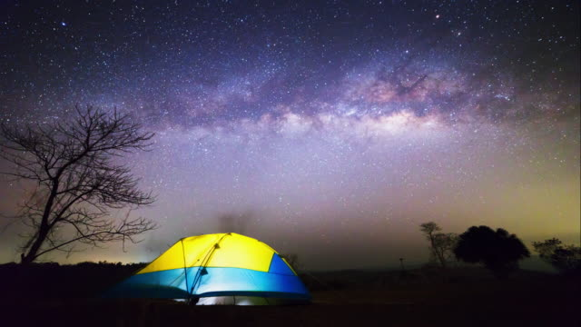 Time lapse milky way and night sky.