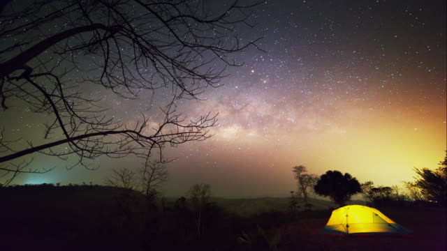 time lapse milky way and night sky. - tent stock videos and b-roll footage