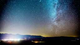 Time Lapse - Milky Way Galaxy Over the Valley