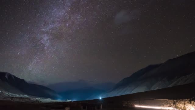 4K time lapse: Melkweg in Norther deel van India bergen sneeuw pieken Leh district, Ladakh Jammu en Kashmir