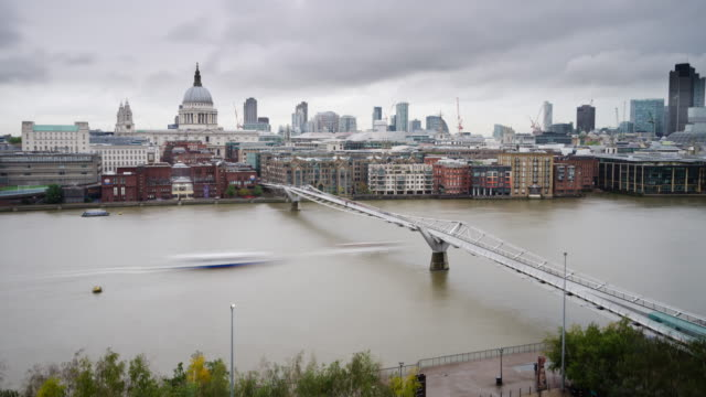 Time lapse Millennium Bridge on Thames in London