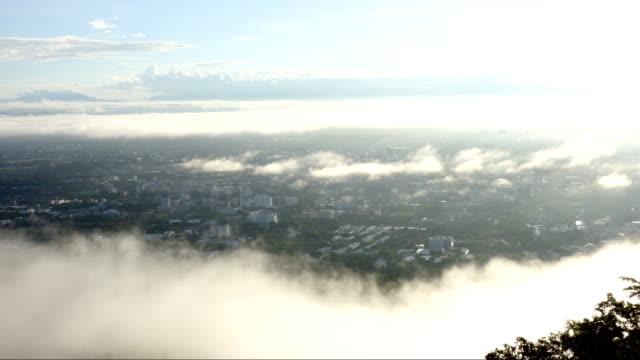 4K time lapse Misty Sunrise over Chiang Mai city, Thailand.