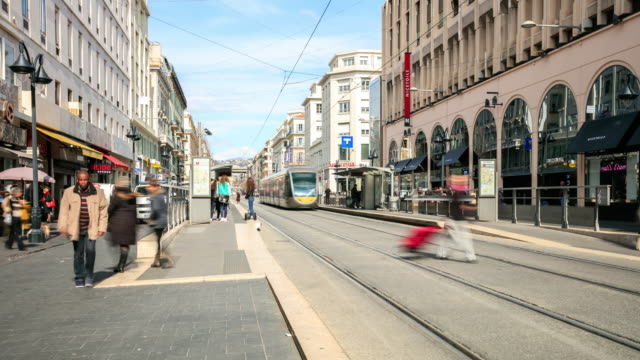4k time lapse : modern tram in nice - tram stock videos & royalty-free footage