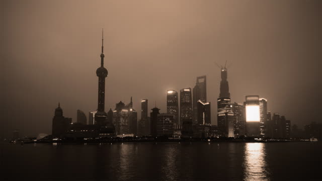 Time Lapse - Monochrome Shanghai From Day to Night