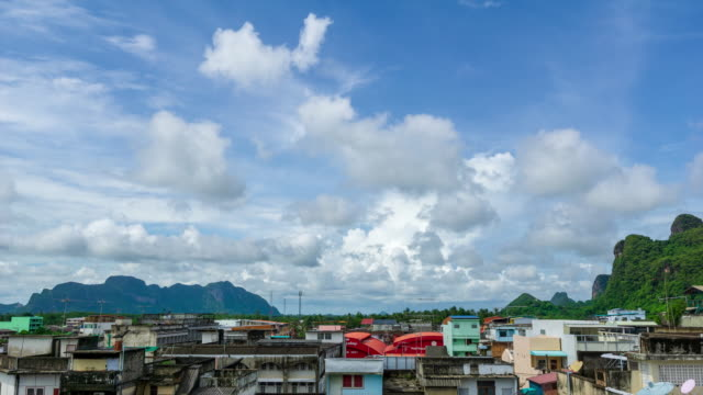 4K Time lapse monsoon clouds over Phatthalung city at Thailand.