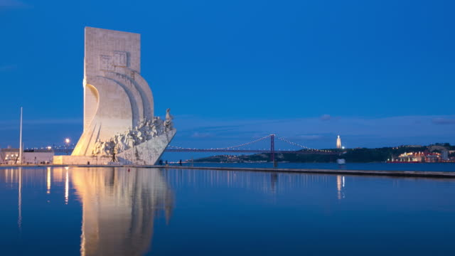 4k time lapse : monument to the discoveries - lisbon stock videos and b-roll footage