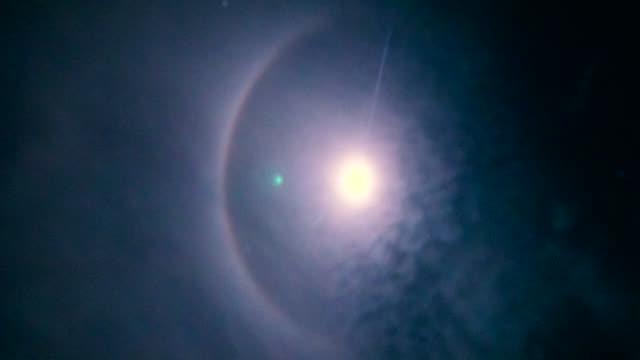 time lapse moon halo phenomenon. - light natural phenomenon stock videos & royalty-free footage