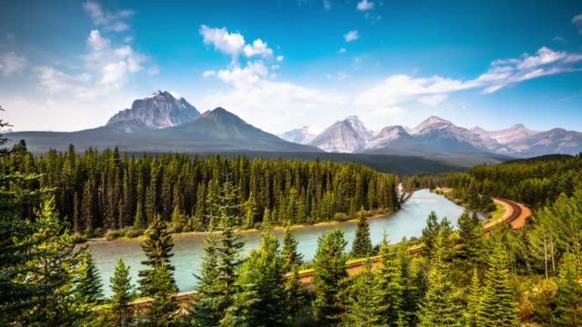 time lapse : morants curve, canadian pacific railway through banff national park canada - banff national park stock videos & royalty-free footage