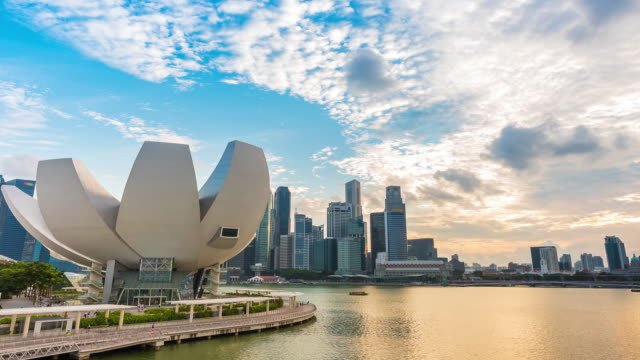 time lapse motion of marina bay ,singapore. - singapore flyer stock videos and b-roll footage
