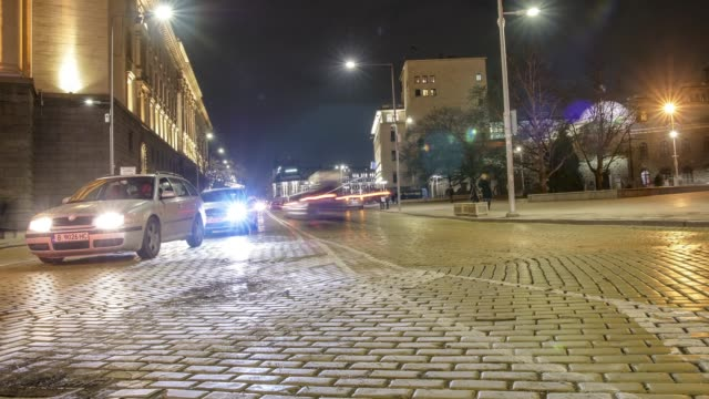Time lapse motionlapse of car traffic in downtown financial district of Sofia, Bulgaria
