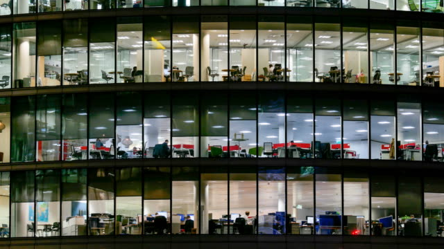 4k time lapse, movement of business people in office building zone, london, england - business finance and industry stock videos & royalty-free footage