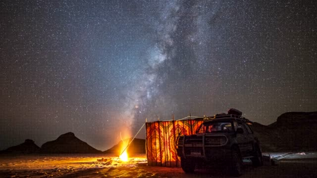 time lapse movie of milky way across sky in the night, while camping at white sand desert, egypt - tent stock videos & royalty-free footage