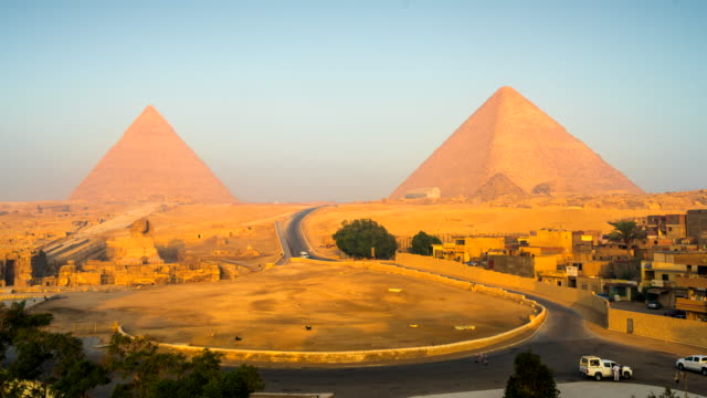 Time-lapse film van Sphinx en grote piramide in Giza, Cairo, Egypte