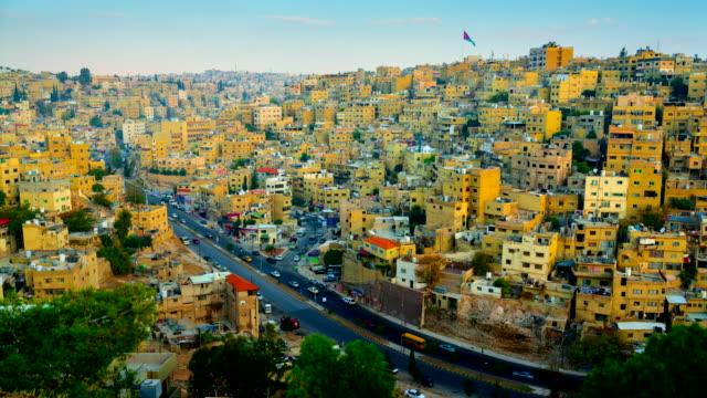 time lapse movie sunrise scene of amman city, jordan capital city - jordan middle east stock videos and b-roll footage