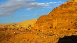 Time lapse Movie Sunset and Moving Cloud of Panoramic Scene the Tombs of Petra, Jordan
